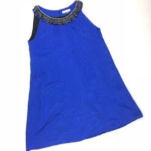 Gryphon Blue Silk Beaded Neck Dress Size XS